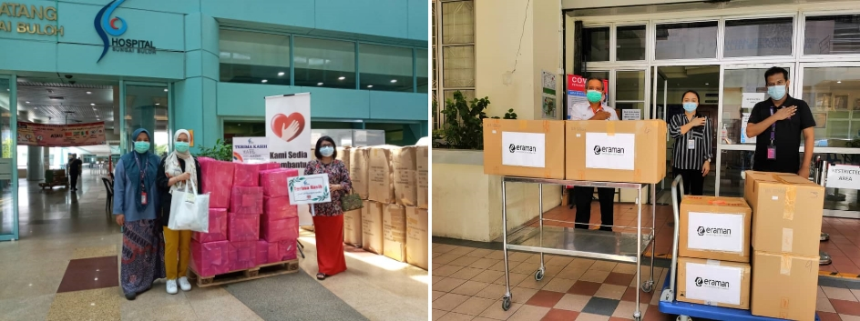 Comfort kits delivered to Hospital Sungai Buloh (L). Cheer packages containing chocolates were sent to the Queen Elizabeth Hospital in Kota Kinabalu, Sabah (R).