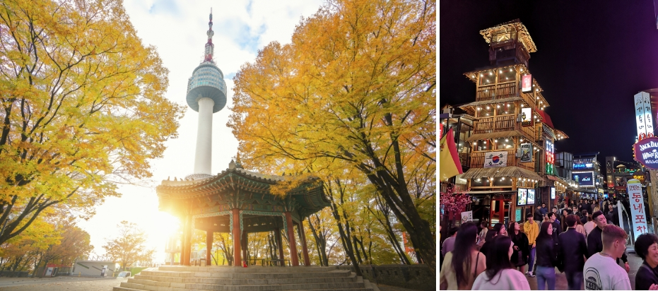 Beautiful view of Namsan Tower during autumn (L). Nightlife in Itaewon (R)