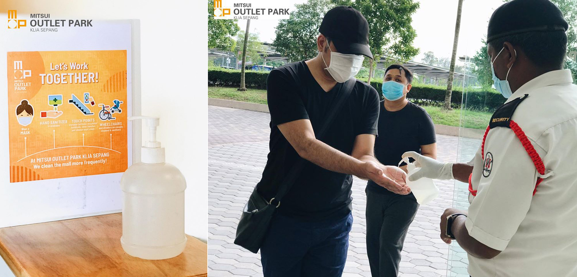Hand sanitisers are provided at various checkpoints throughout Mitsui Outlet Park KLIA Sepang.