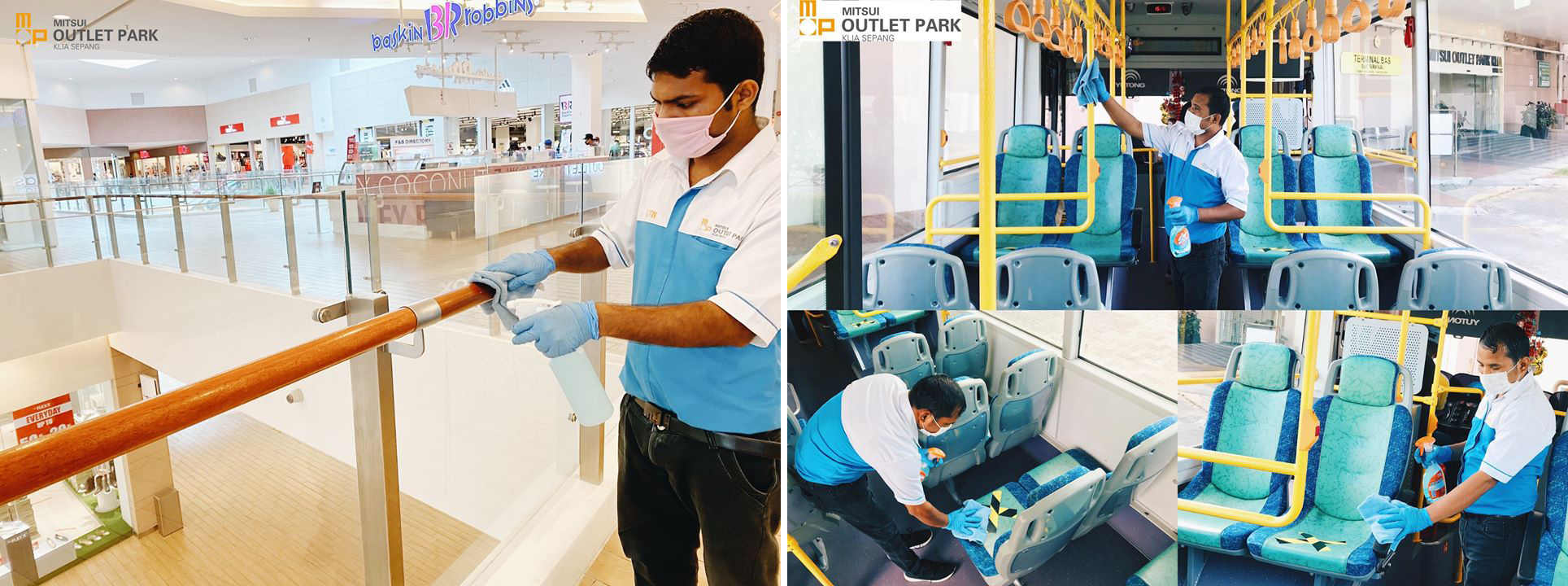 Regular sanitisation exercises carried out by workers to maintain cleanliness and hygiene of the premises as well as the shuttle bus facilities.