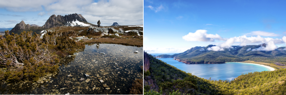 Cradle Mountain-Lake St Clair National Park (L), Wineglass bay (R)