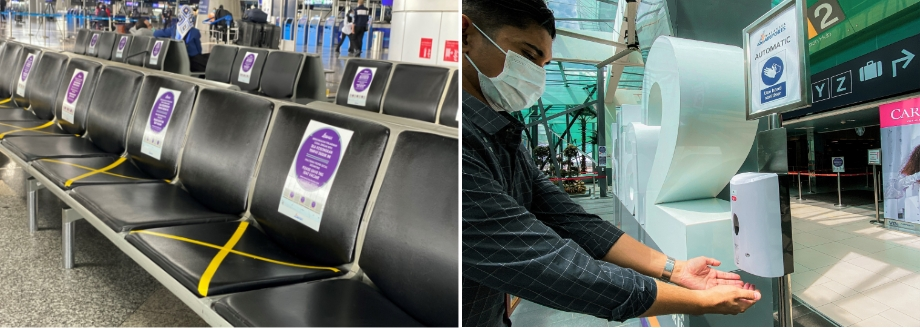 Social distancing markers on seats at the airport (L). Hand sanitisers are placed throughout the airport to assist travellers in practising good personal hygiene. (R)