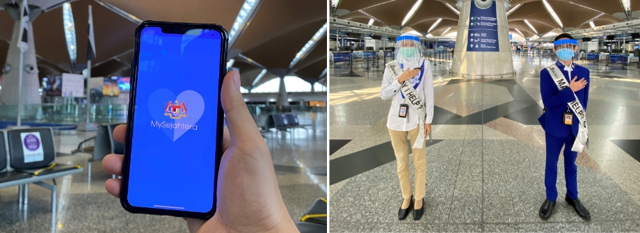 We use a nationwide contact tracing application to keep the community safe. (L) Our Airport CARE Ambassadors are all set to assist travellers when in need. (R)