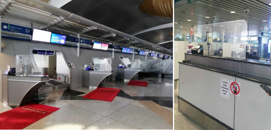 Check-in counter at KLIA sporting new looks with the newly installed sneeze guard protectors (L). Installation of sneeze guard protectors for added protection (R).