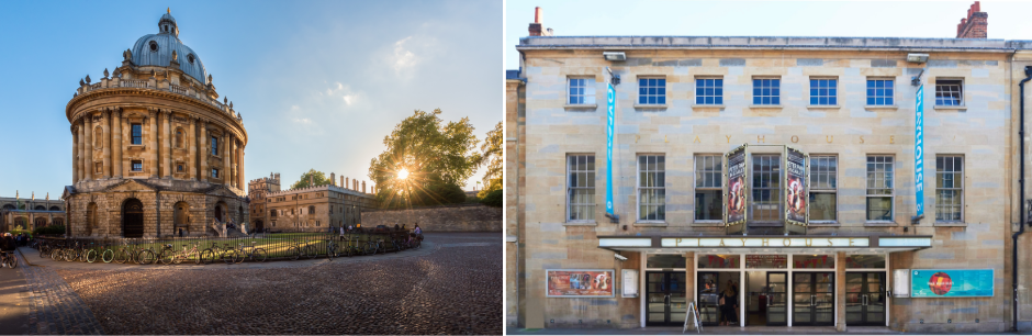 Bodleian Library (L), Oxford Playhouse (Photo : FB @OxfordPlayhouseTheatre) (R).