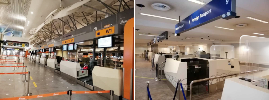 Check-in counters (L) and immigration counters (R) at klia2 are also equipped with sneeze guard protectors.