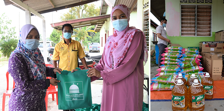 Distributions of qurban meat and essential goods by Malaysia Airports' representatives to the villagers of Labu Lanjut.