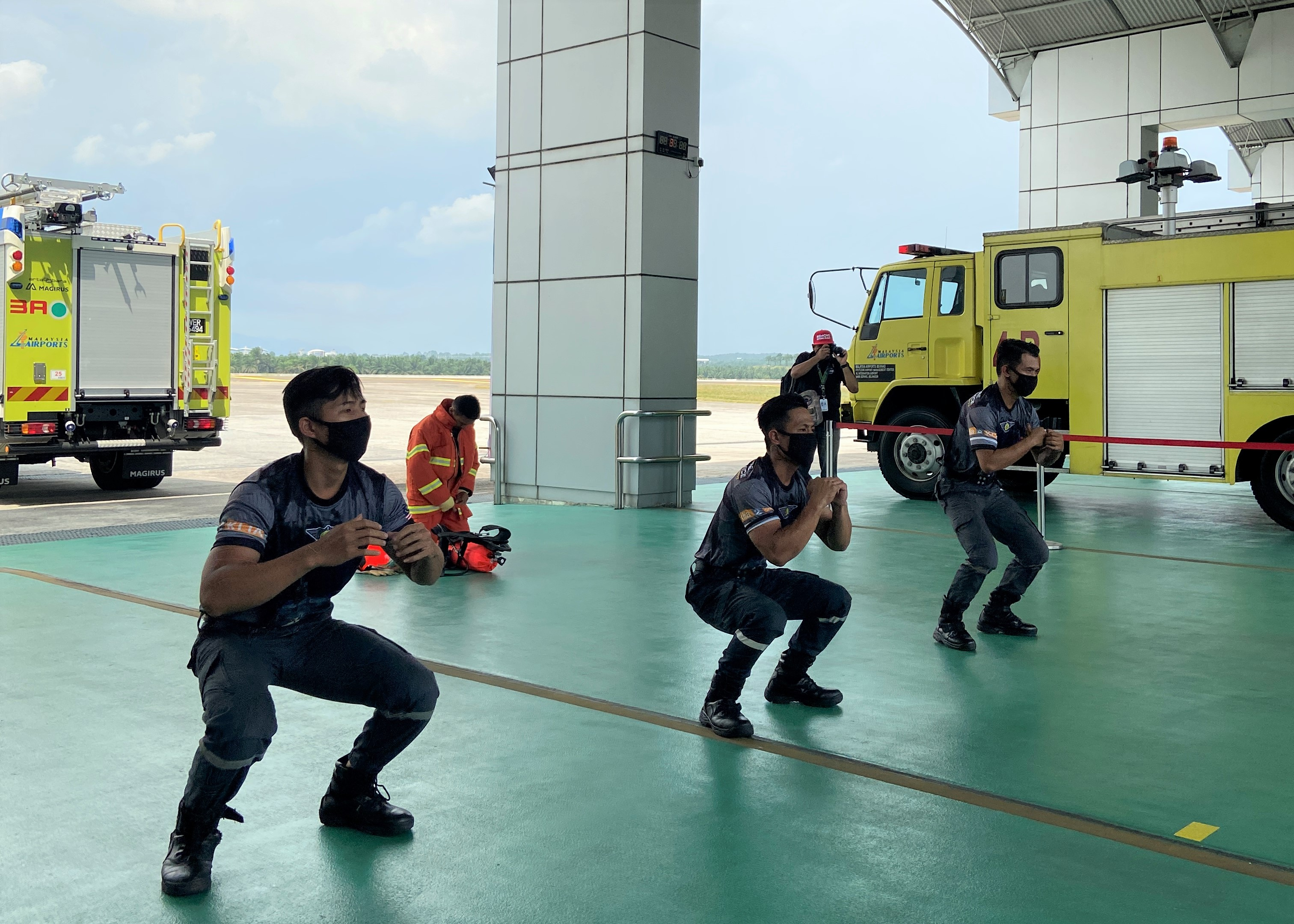 A unique welcome performance by the firefighters of Airport Fire Rescue Service (AFRS).